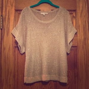 Sleeveless Sweater Tan with Silver Sequins
